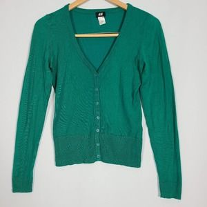 H&M Button Down Green V-Neck Cardigan Size XS